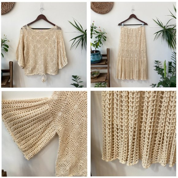 Vintage Dresses & Skirts - Vintage Hand Crocheted Lace Top and Skirt Set